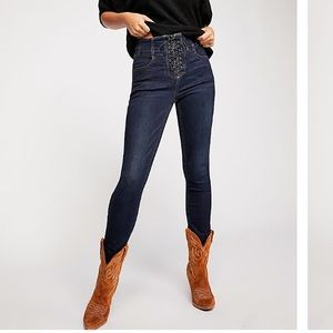 CRVY High Rise Lace Up Skinny Jeans